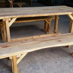 stôl + 2 lavice z jelše